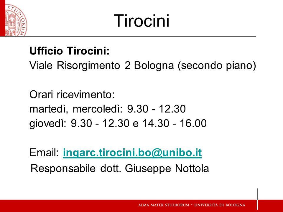 Tirocini Ufficio Tirocini: Viale Risorgimento 2 Bologna (secondo piano) Orari ricevimento: martedì, mercoledì: 9.30 - 12.30 giovedì: 9.30 - 12.30 e 14