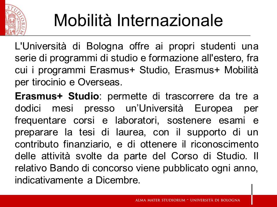 Mobilità Internazionale L'Università di Bologna offre ai propri studenti una serie di programmi di studio e formazione all'estero, fra cui i programmi