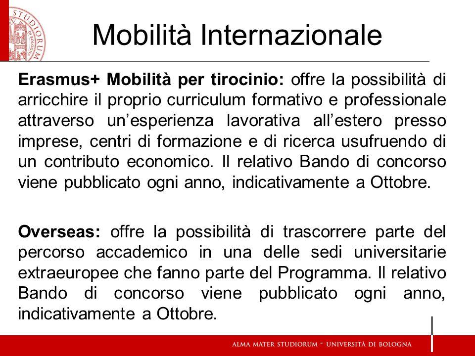 Mobilità Internazionale Erasmus+ Mobilità per tirocinio: offre la possibilità di arricchire il proprio curriculum formativo e professionale attraverso