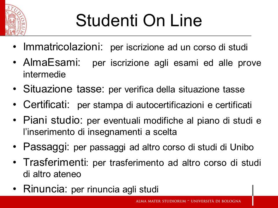 Studenti On Line Immatricolazioni: per iscrizione ad un corso di studi AlmaEsami: per iscrizione agli esami ed alle prove intermedie Situazione tasse: