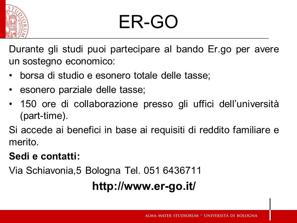 ER-GO Durante gli studi puoi partecipare al bando Er.go per avere un sostegno economico: borsa di studio e esonero totale delle tasse; esonero parzial