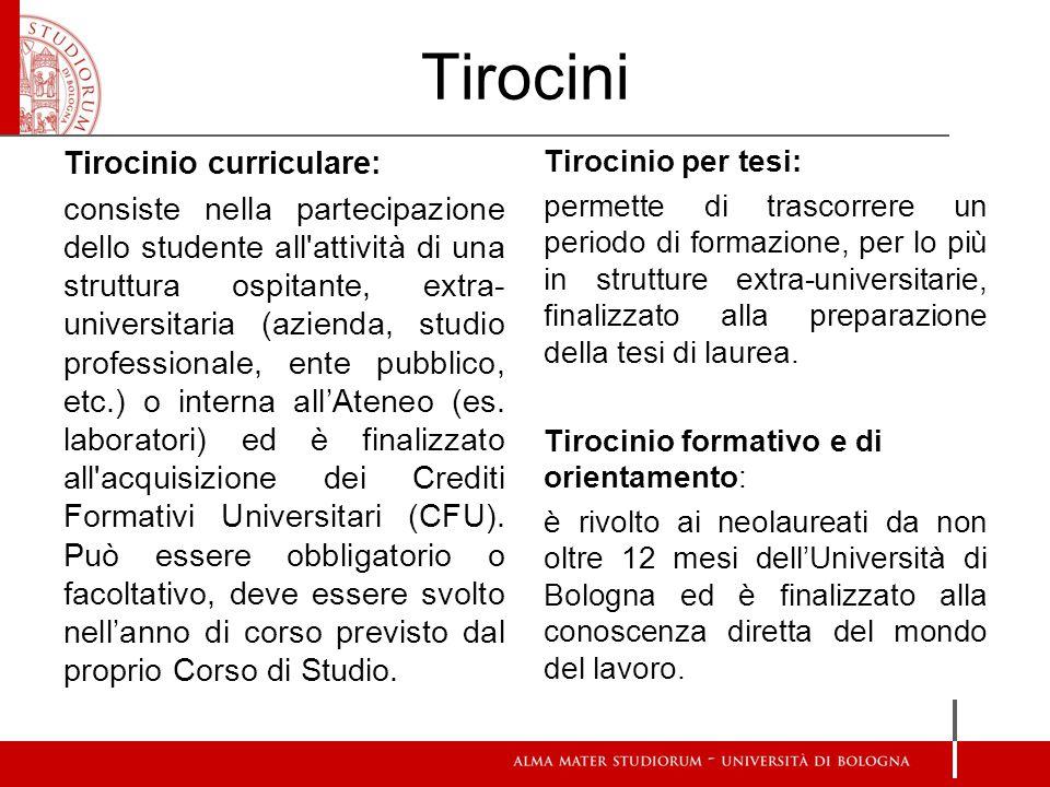 Tirocini Tirocinio curriculare: consiste nella partecipazione dello studente all'attività di una struttura ospitante, extra- universitaria (azienda, s