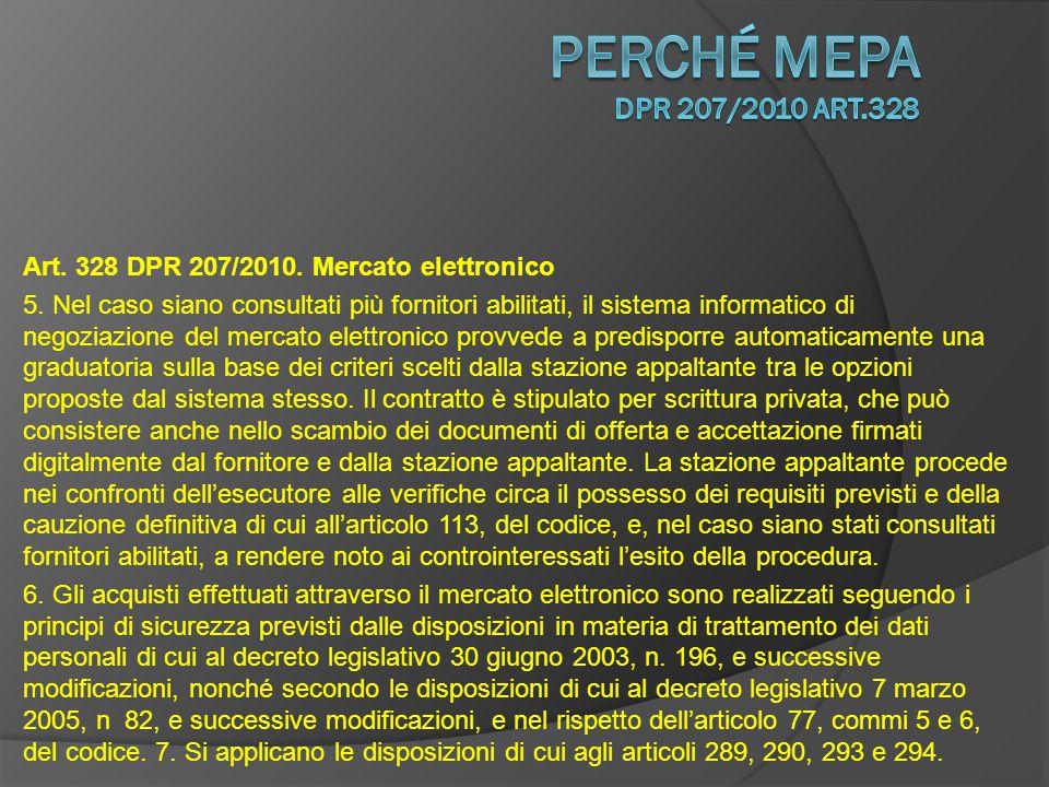 Art.328 DPR 207/2010. Mercato elettronico 5.