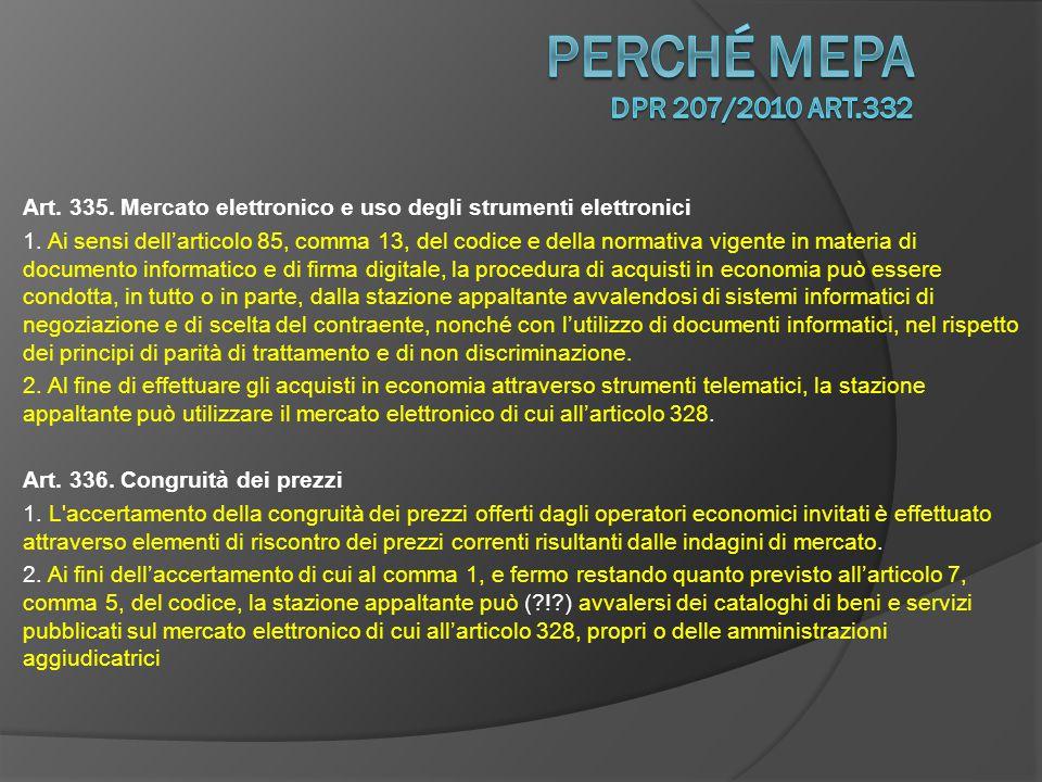 Art.335. Mercato elettronico e uso degli strumenti elettronici 1.