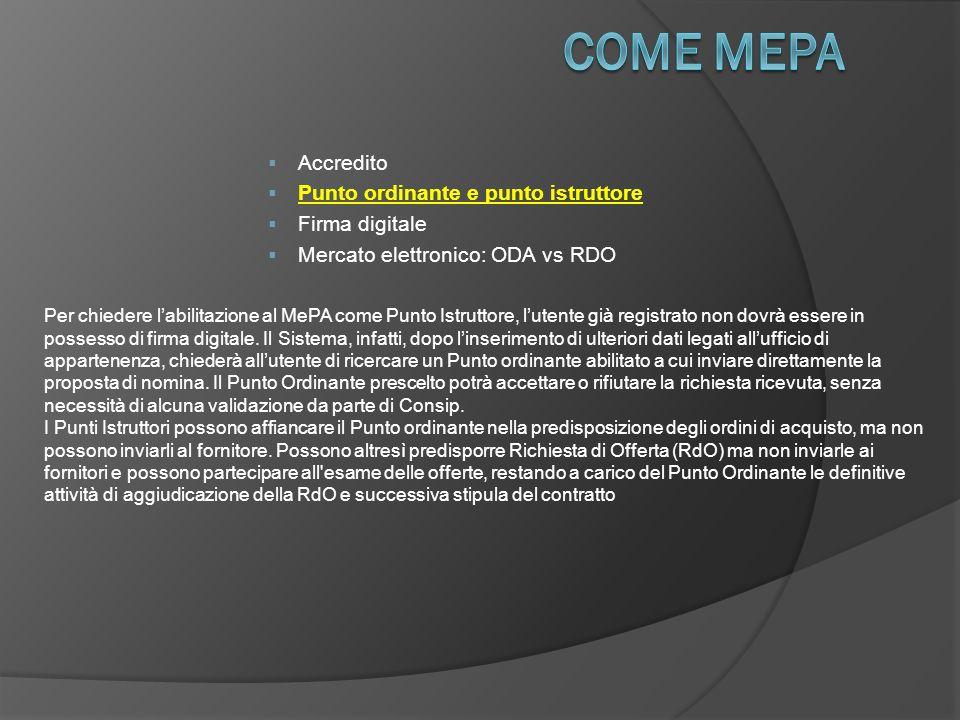  Accredito  Punto ordinante e punto istruttore  Firma digitale  Mercato elettronico: ODA vs RDO Per chiedere l'abilitazione al MePA come Punto Istruttore, l'utente già registrato non dovrà essere in possesso di firma digitale.