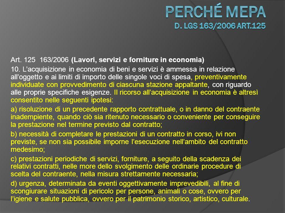 Art.125 163/2006 (Lavori, servizi e forniture in economia) 11.