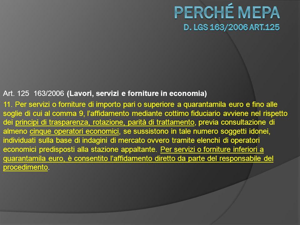 Art.125 163/2006 (Lavori, servizi e forniture in economia) 12.