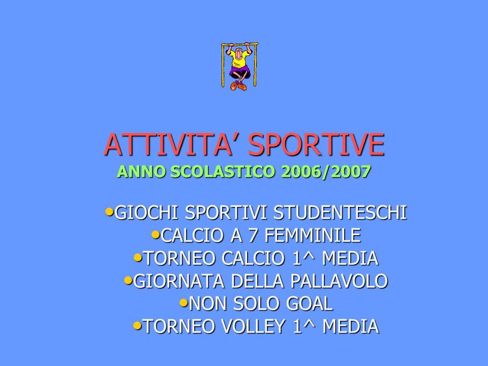ATTIVITA' SPORTIVE ANNO SCOLASTICO 2006/2007 GIOCHI SPORTIVI STUDENTESCHI GIOCHI SPORTIVI STUDENTESCHI CALCIO A 7 FEMMINILE CALCIO A 7 FEMMINILE TORNEO CALCIO 1^ MEDIA TORNEO CALCIO 1^ MEDIA GIORNATA DELLA PALLAVOLO GIORNATA DELLA PALLAVOLO NON SOLO GOAL NON SOLO GOAL TORNEO VOLLEY 1^ MEDIA TORNEO VOLLEY 1^ MEDIA
