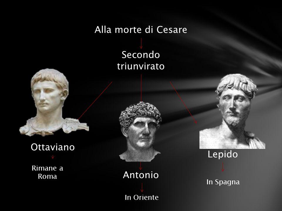 Secondo triunvirato Ottaviano Lepido Rimane a Roma In Oriente Alla morte di Cesare Antonio In Spagna