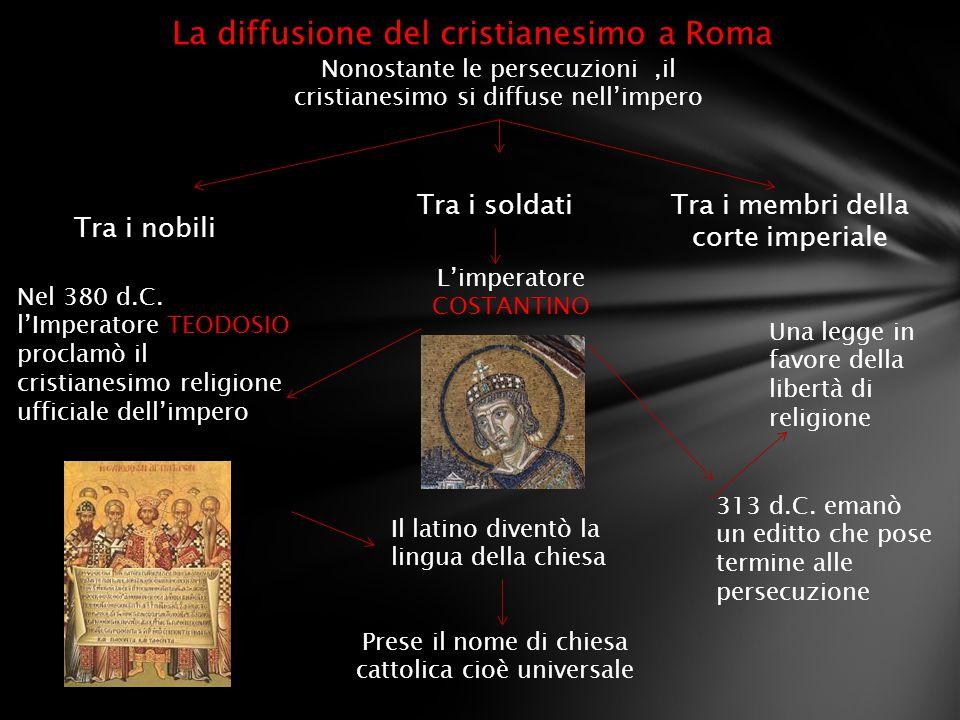 La diffusione del cristianesimo a Roma Nonostante le persecuzioni,il cristianesimo si diffuse nell'impero Tra i nobili Tra i soldatiTra i membri della