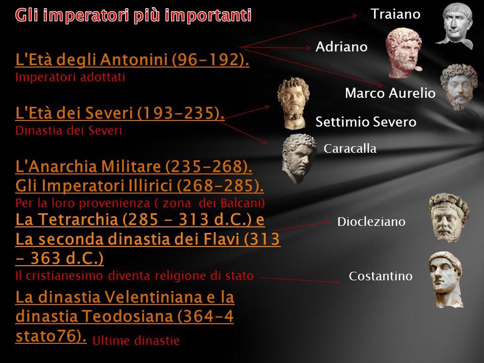 L'Età degli Antonini (96-192). Imperatori adottati L'Età dei Severi (193-235). Dinastia dei Severi L'Anarchia Militare (235-268). Gli Imperatori Illir