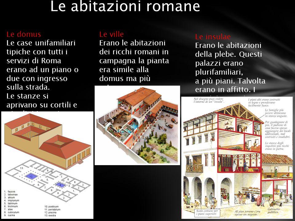 Le abitazioni romane Le domus Le case unifamiliari tipiche con tutti i servizi di Roma erano ad un piano o due con ingresso sulla strada. Le stanze si
