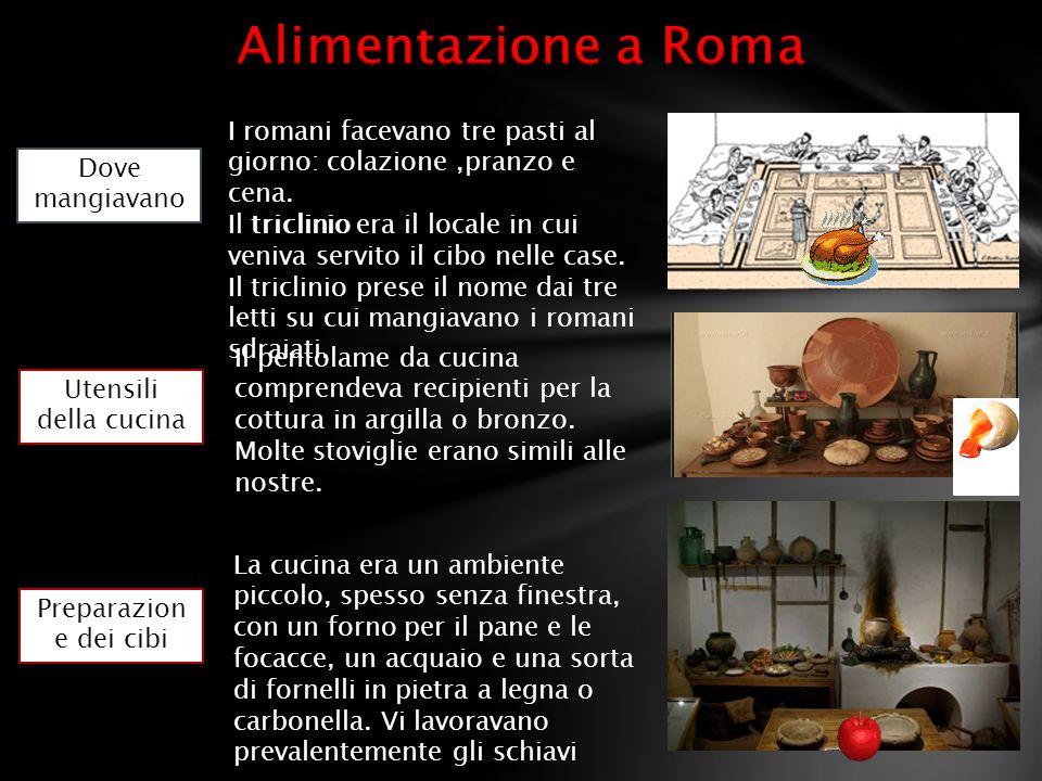 Dove mangiavano Utensili della cucina Preparazion e dei cibi I romani facevano tre pasti al giorno: colazione,pranzo e cena. Il triclinio era il local
