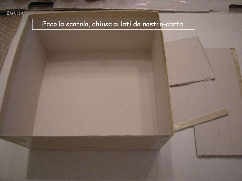 Per il contenitore ho usato una scatola da scarpe, anch'essa riciclata, adattandola alla forma quadrata, e cioè: 20cm lato x 10 altezza x 4 lati; il f