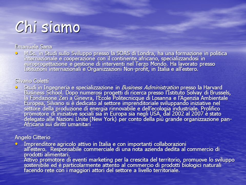 Chi siamo Emanuele Sana M.Sc.