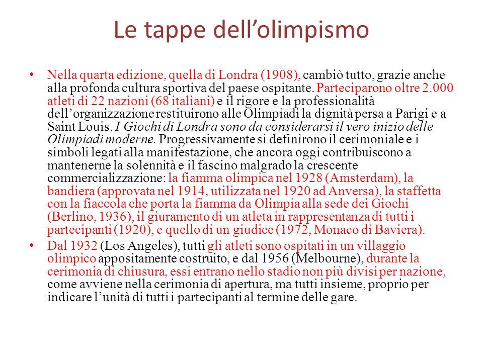 Le tappe dell'olimpismo Nella quarta edizione, quella di Londra (1908), cambiò tutto, grazie anche alla profonda cultura sportiva del paese ospitante.