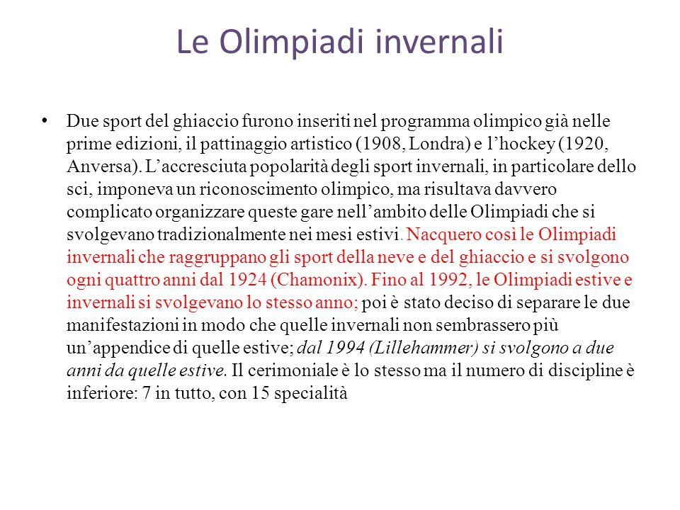 Le Olimpiadi invernali Due sport del ghiaccio furono inseriti nel programma olimpico già nelle prime edizioni, il pattinaggio artistico (1908, Londra) e l'hockey (1920, Anversa).