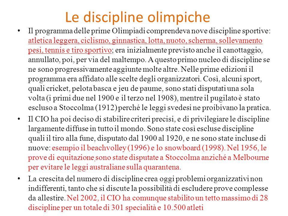 Le discipline olimpiche Il programma delle prime Olimpiadi comprendeva nove discipline sportive: atletica leggera, ciclismo, ginnastica, lotta, nuoto,