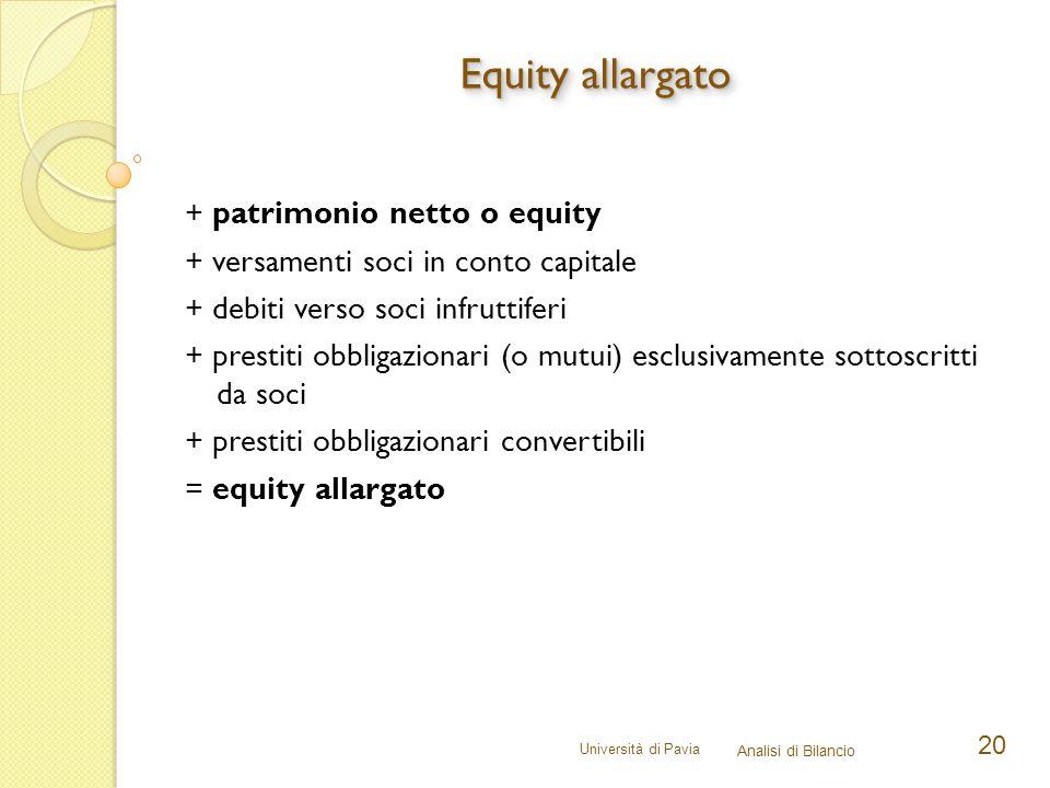 Università di Pavia Analisi di Bilancio 20 + patrimonio netto o equity + versamenti soci in conto capitale + debiti verso soci infruttiferi + prestiti obbligazionari (o mutui) esclusivamente sottoscritti da soci + prestiti obbligazionari convertibili = equity allargato Equity allargato