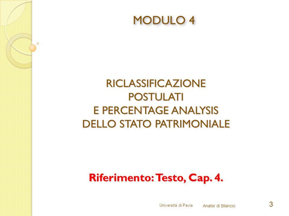 Università di Pavia Analisi di Bilancio 3 RICLASSIFICAZIONEPOSTULATI E PERCENTAGE ANALYSIS DELLO STATO PATRIMONIALE Riferimento: Testo, Cap.