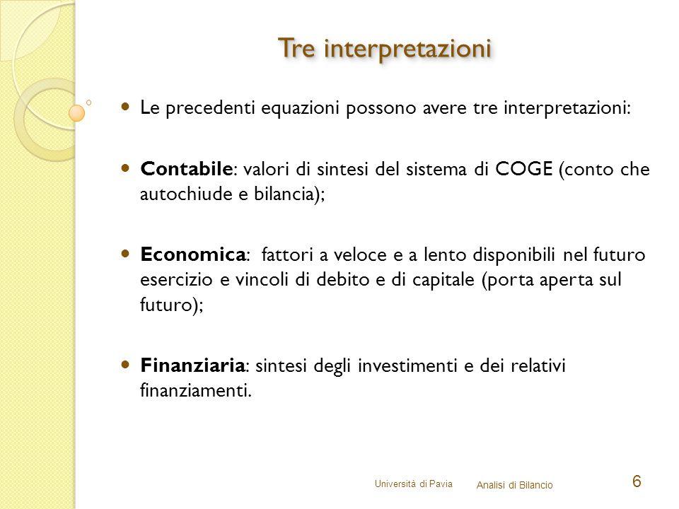 Università di Pavia Analisi di Bilancio 7 Delle tre interpretazioni, per le analisi di bilancio appare preferibile la finanziaria.