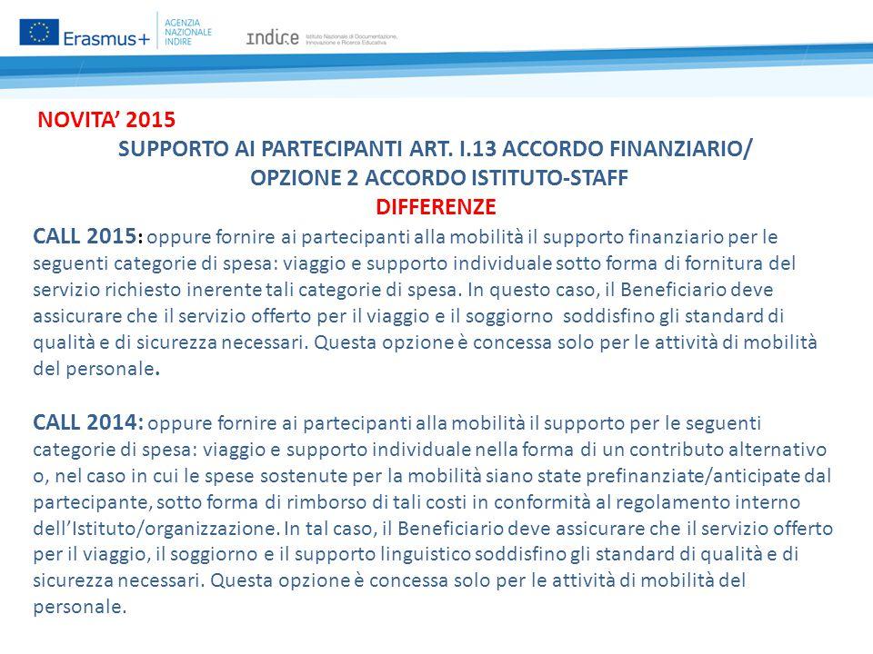 NOVITA' 2015 SUPPORTO AI PARTECIPANTI ART.