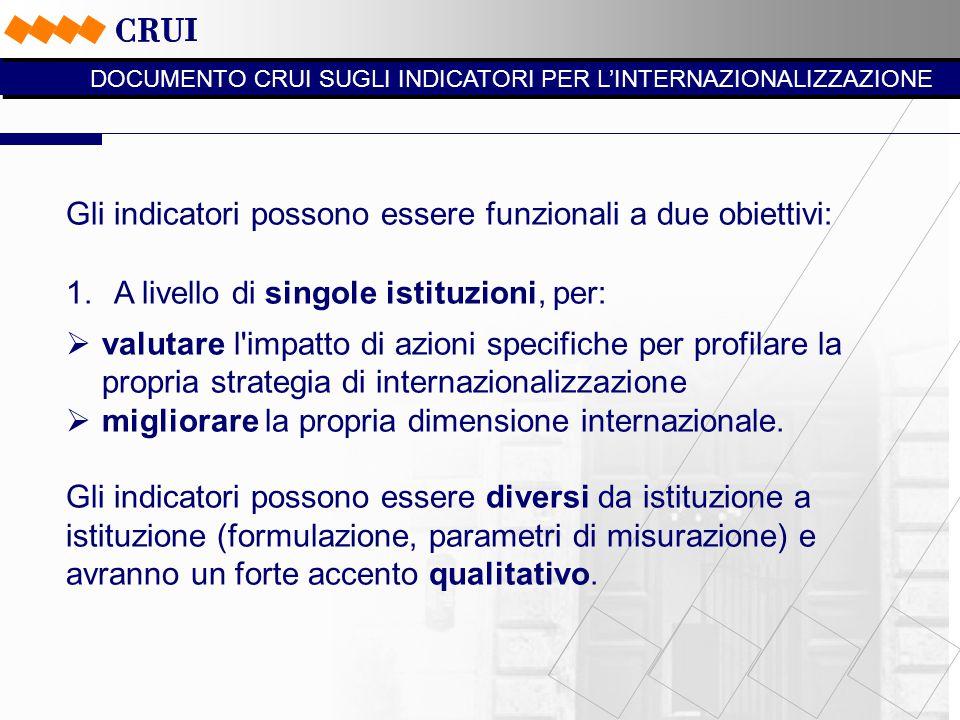 Gli indicatori possono essere funzionali a due obiettivi: 1.A livello di singole istituzioni, per:  valutare l impatto di azioni specifiche per profilare la propria strategia di internazionalizzazione  migliorare la propria dimensione internazionale.
