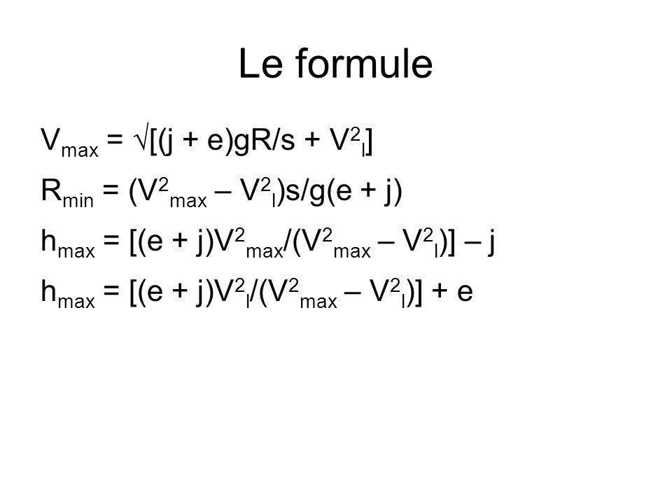 Le formule V max = √[(j + e)gR/s + V 2 l ] R min = (V 2 max – V 2 l )s/g(e + j) h max = [(e + j)V 2 max /(V 2 max – V 2 l )] – j h max = [(e + j)V 2 l