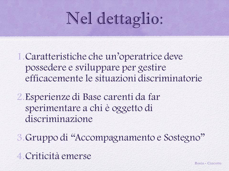 Nel dettaglio: 1.Caratteristiche che un'operatrice deve possedere e sviluppare per gestire efficacemente le situazioni discriminatorie 2.Esperienze di