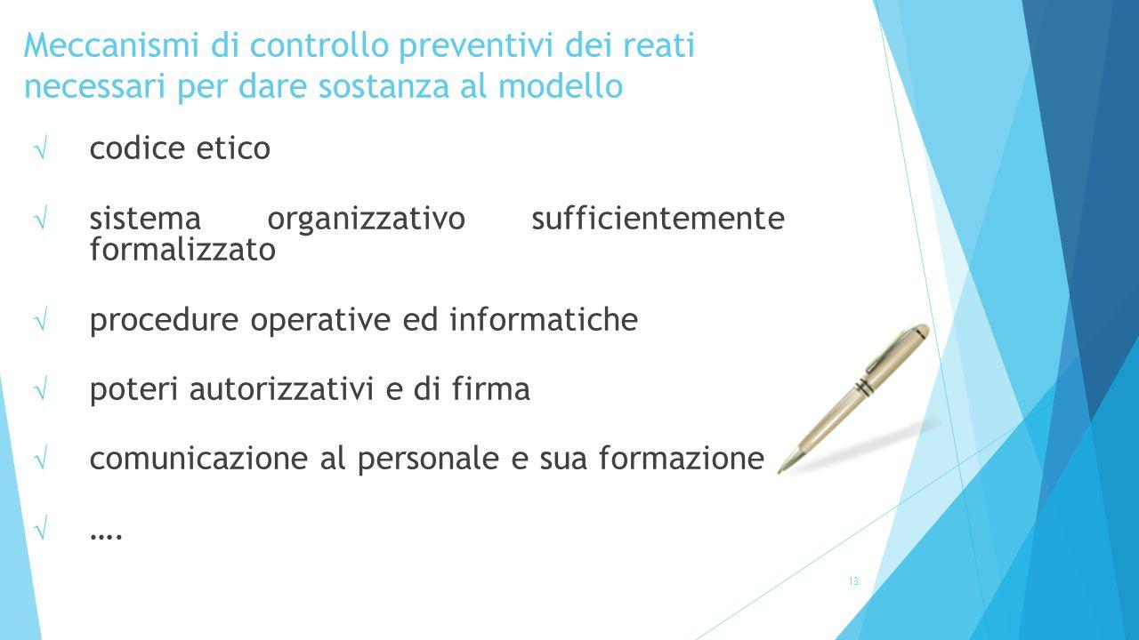 Meccanismi di controllo preventivi dei reati necessari per dare sostanza al modello 13 √ codice etico √ sistema organizzativo sufficientemente formali