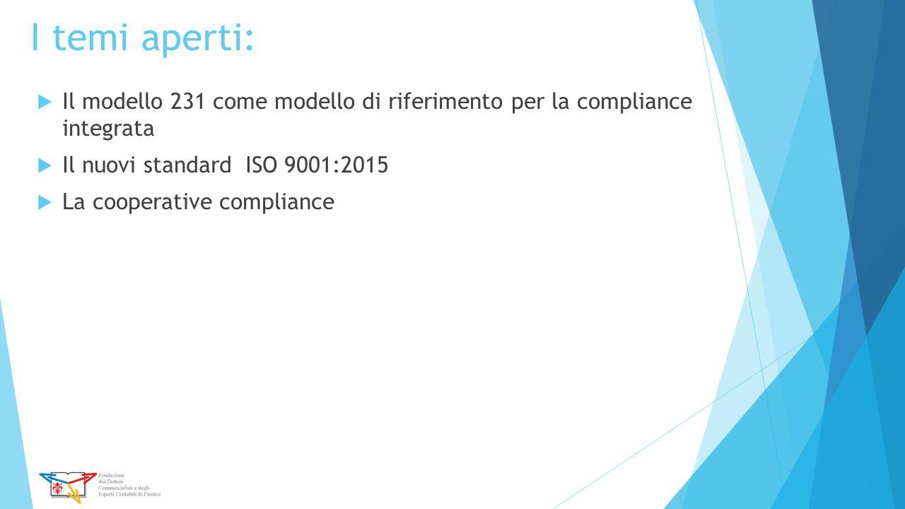 I temi aperti:  Il modello 231 come modello di riferimento per la compliance integrata  Il nuovi standard ISO 9001:2015  La cooperative compliance
