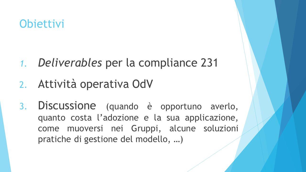 Obiettivi 1. Deliverables per la compliance 231 2. Attività operativa OdV 3. Discussione (quando è opportuno averlo, quanto costa l'adozione e la sua