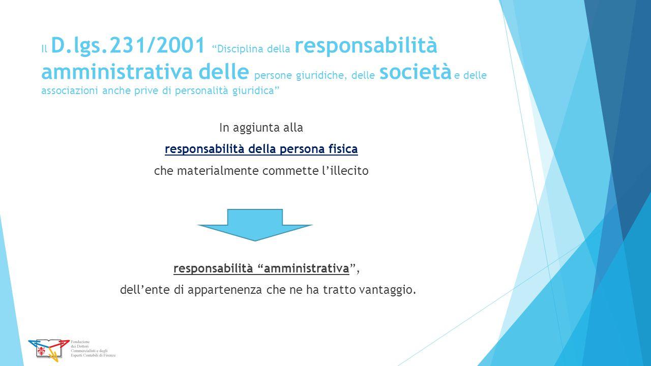 """Il D.lgs.231/2001 """"Disciplina della responsabilità amministrativa delle persone giuridiche, delle società e delle associazioni anche prive di personal"""
