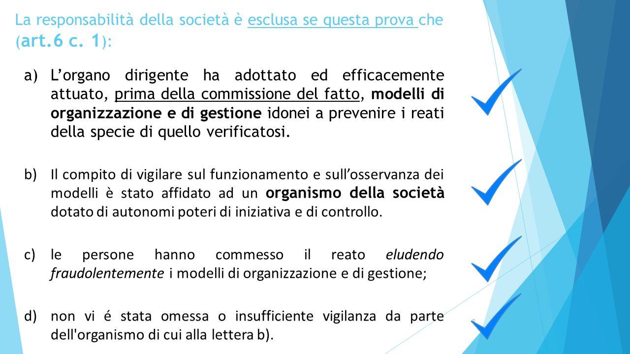 La responsabilità della società è esclusa se questa prova che ( art.6 c. 1 ): 8 a)L'organo dirigente ha adottato ed efficacemente attuato, prima della