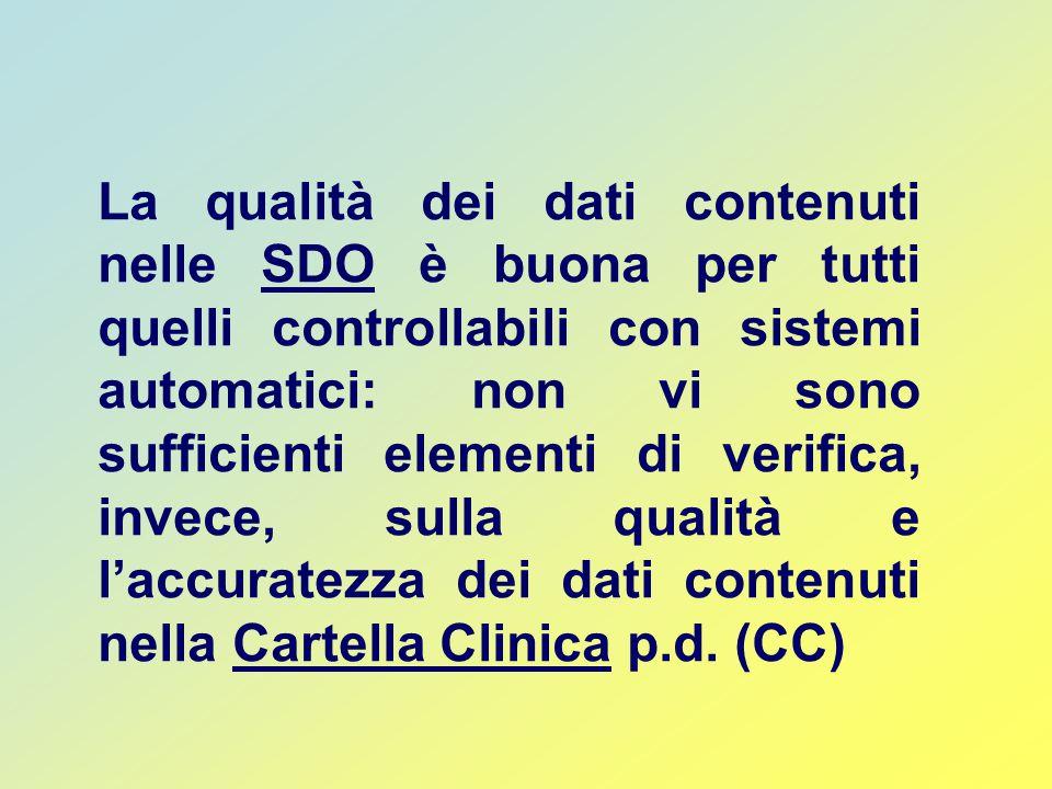 La qualità dei dati contenuti nelle SDO è buona per tutti quelli controllabili con sistemi automatici: non vi sono sufficienti elementi di verifica, invece, sulla qualità e l'accuratezza dei dati contenuti nella Cartella Clinica p.d.