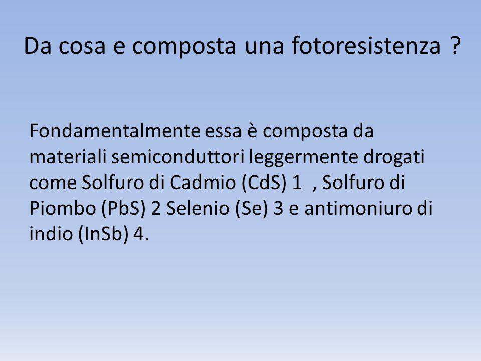 Da cosa e composta una fotoresistenza ? Fondamentalmente essa è composta da materiali semiconduttori leggermente drogati come Solfuro di Cadmio (CdS)