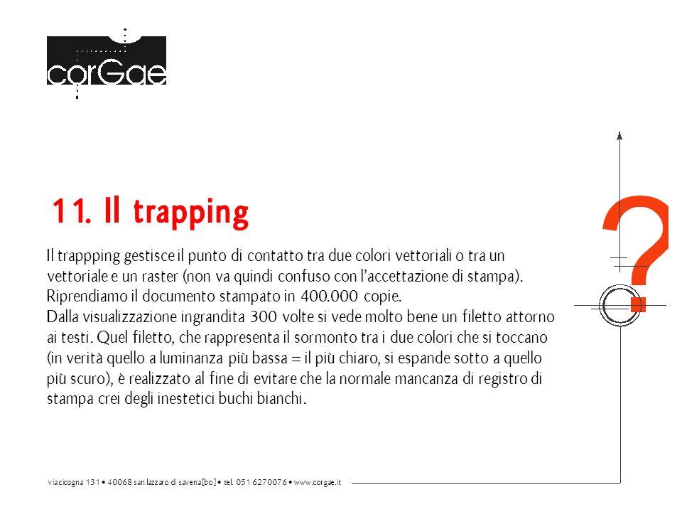 11. Il trapping Il trappping gestisce il punto di contatto tra due colori vettoriali o tra un vettoriale e un raster (non va quindi confuso con l'acce