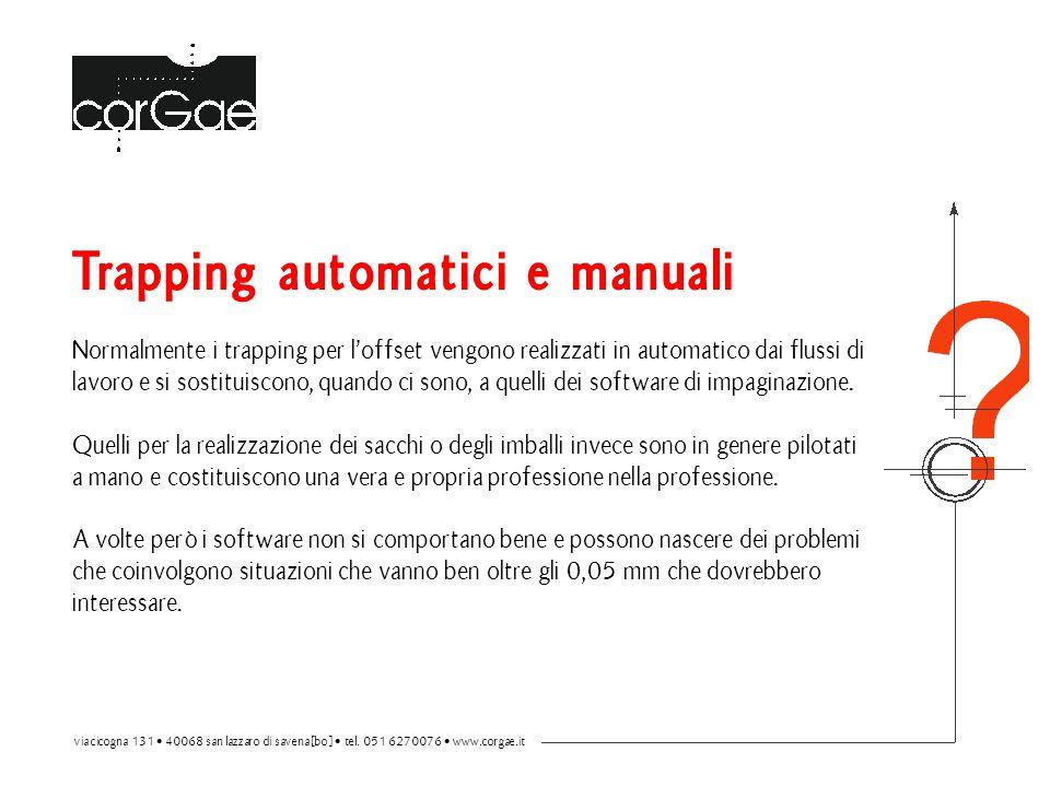 Trapping automatici e manuali Normalmente i trapping per l'offset vengono realizzati in automatico dai flussi di lavoro e si sostituiscono, quando ci sono, a quelli dei software di impaginazione.