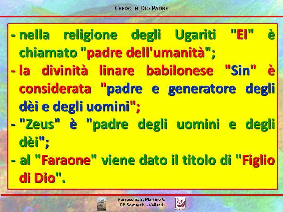 C REDO IN D IO P ADRE Parrocchia S. Martino V. PP. Somaschi - Velletri -nella religione degli Ugariti