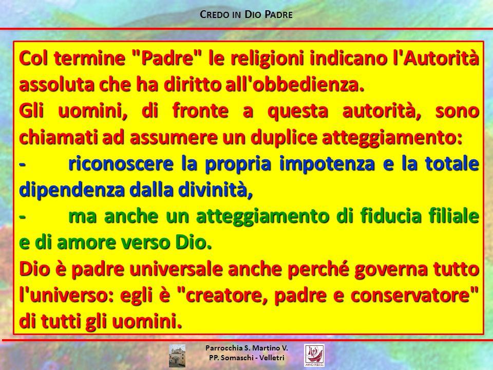 C REDO IN D IO P ADRE Parrocchia S. Martino V. PP. Somaschi - Velletri Col termine