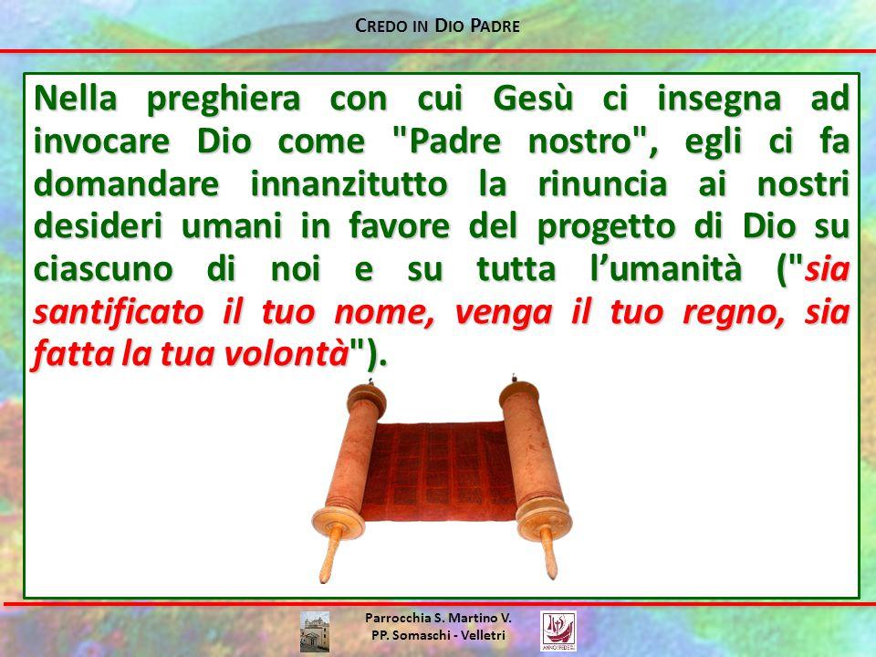 C REDO IN D IO P ADRE Parrocchia S. Martino V. PP. Somaschi - Velletri Nella preghiera con cui Gesù ci insegna ad invocare Dio come