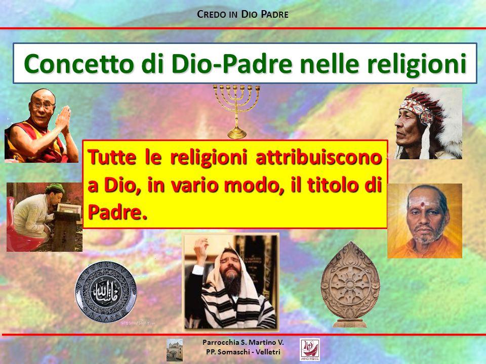 C REDO IN D IO P ADRE Parrocchia S. Martino V. PP. Somaschi - Velletri Concetto di Dio-Padre nelle religioni Tutte le religioni attribuiscono a Dio, i