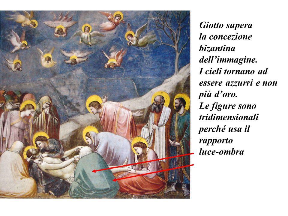 Giotto supera la concezione bizantina dell'immagine. I cieli tornano ad essere azzurri e non più d'oro. Le figure sono tridimensionali perché usa il r