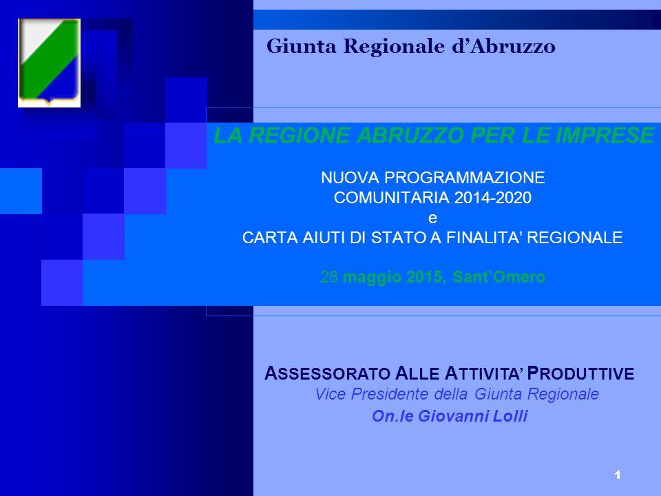 2 17/07/2015 PROGRAMMI EUROPEI: PERIODO 2014/2020 NELL'AMBITO DELLA PROGRAMMAZIONE 2014-2020 LO SVILUPPO ECONOMICO SI OCCUPA DEGLI INTERVENTI A FAVORE DELLE IMPRESE; ATTRAVERSO IL FESR 2014-2020 SARANNO DESTINATI, PREVALENETEMENTE ALLE PMI (MA ANCHE ALLE GI, CON QUALCHE LIMITAZIONE) CIRCA 126 MILIONI DI EURO PER AIUTI ALLE STESSE.
