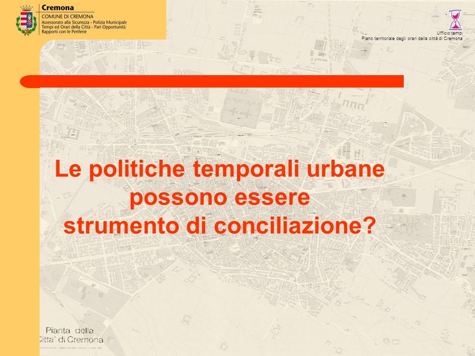 Ufficio tempi Piano territoriale degli orari della città di Cremona Le politiche temporali urbane possono essere strumento di conciliazione
