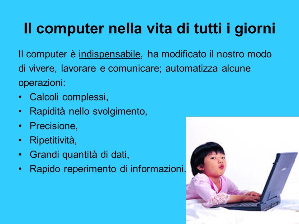 Il computer nella vita di tutti i giorni Il computer è indispensabile, ha modificato il nostro modo di vivere, lavorare e comunicare; automatizza alcu