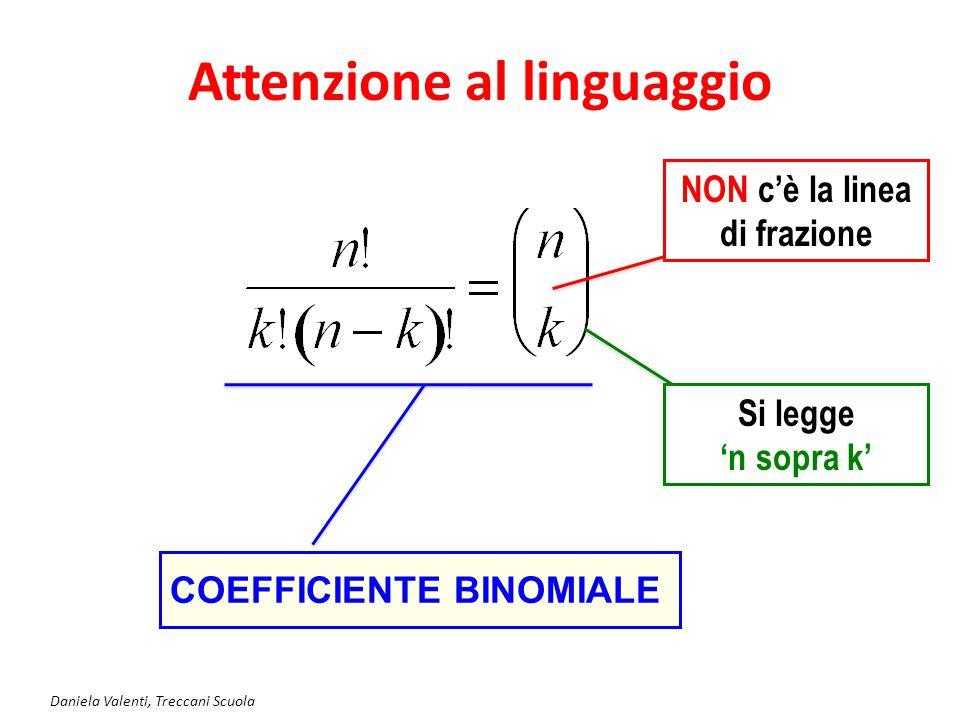 Daniela Valenti, Treccani Scuola Attenzione al linguaggio COEFFICIENTE BINOMIALE NON c'è la linea di frazione Si legge 'n sopra k'