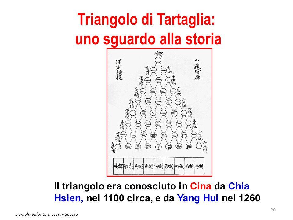 Daniela Valenti, Treccani Scuola 20 Triangolo di Tartaglia: uno sguardo alla storia Il triangolo era conosciuto in Cina da Chia Hsien, nel 1100 circa, e da Yang Hui nel 1260