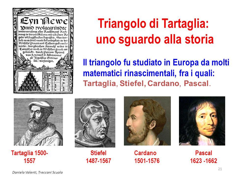 Daniela Valenti, Treccani Scuola 21 Triangolo di Tartaglia: uno sguardo alla storia Il triangolo fu studiato in Europa da molti matematici rinasciment