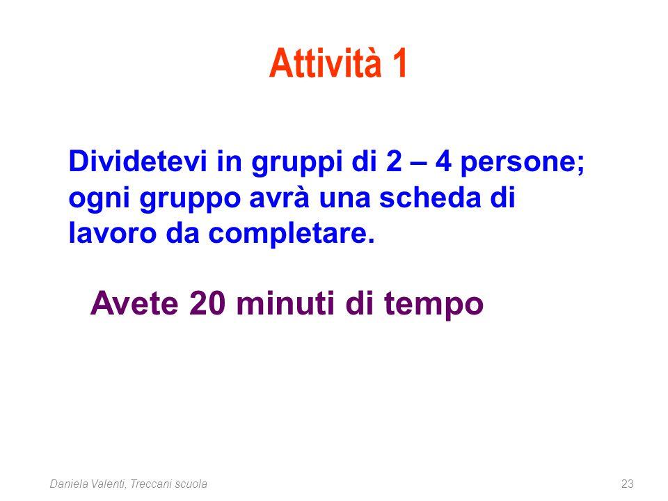 23Daniela Valenti, Treccani scuola Dividetevi in gruppi di 2 – 4 persone; ogni gruppo avrà una scheda di lavoro da completare. Avete 20 minuti di temp